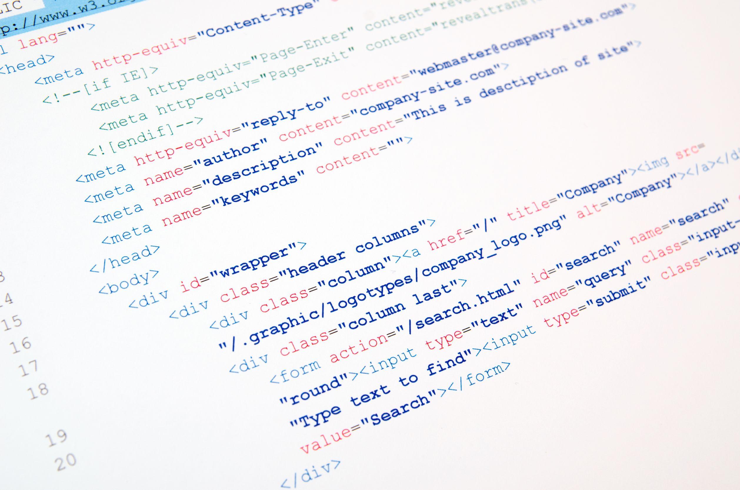 28420461 - code of html language on white background