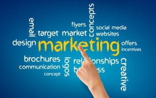 13677932 - hand pointing at a marketing word illustration on blue background.